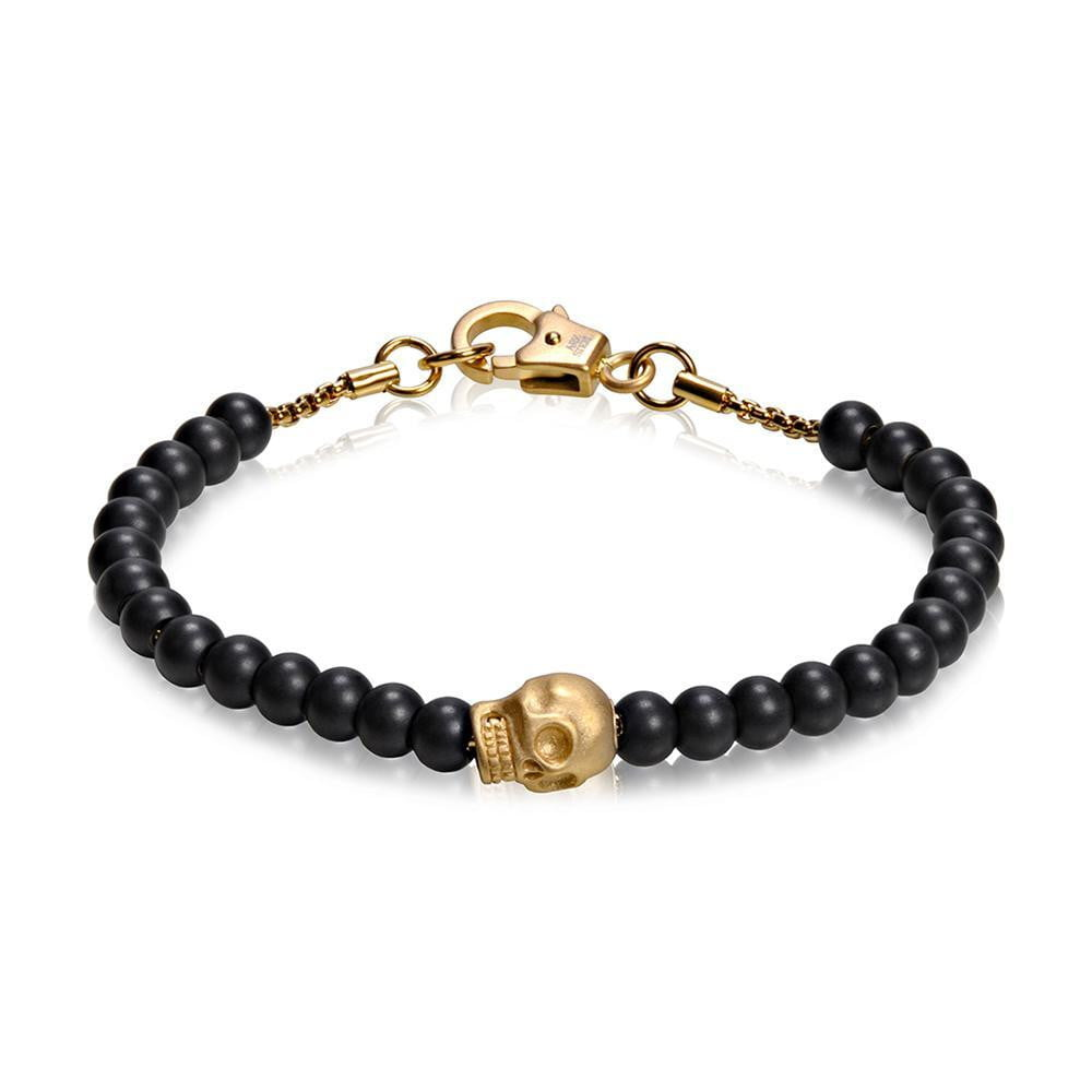 A.R.Z Steel - Black Bead With Skull Bracelet