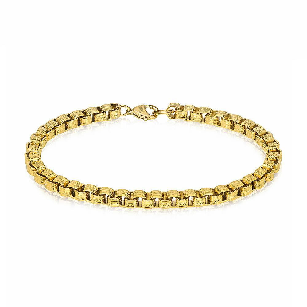 A.R.Z Steel - Gold square Box Link Bracelet