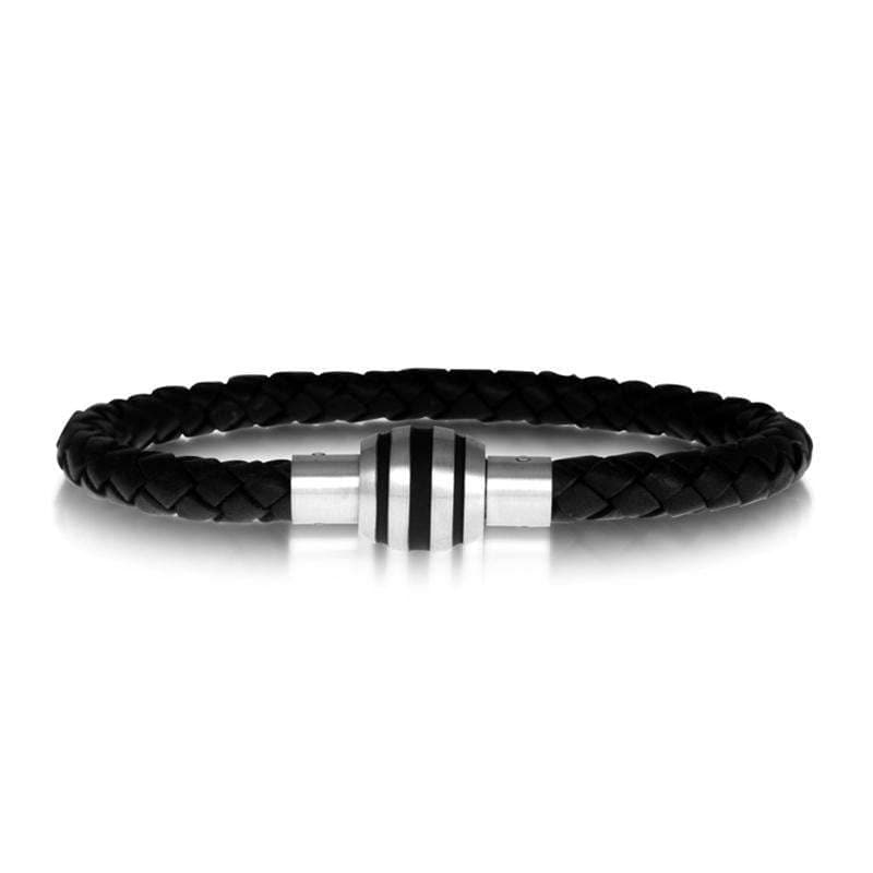 A.R.Z Steel - Black Leather With Steel Clasp Bracelet