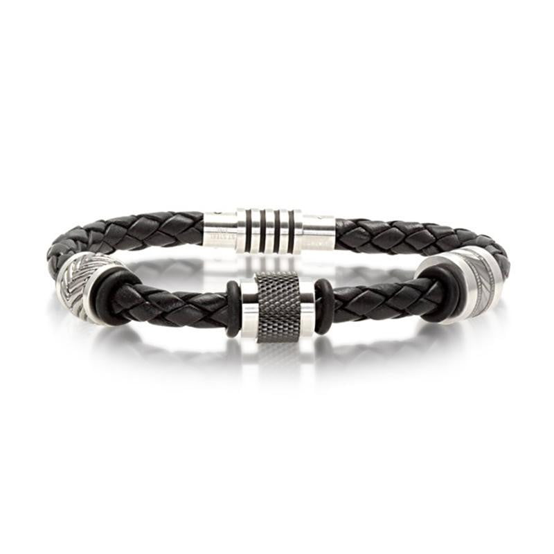 A.R.Z Steel - Black Leather Cap Side Bracelet