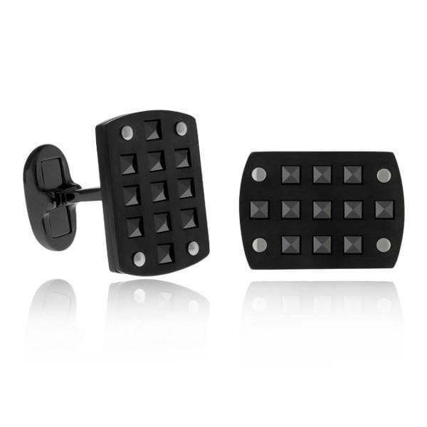 A.R.Z Steel - Black Studded CuffLinks With Fold over Clip Backs