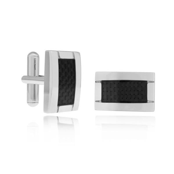 A.R.Z Steel -  Black Ceramic Inlay CuffLinks