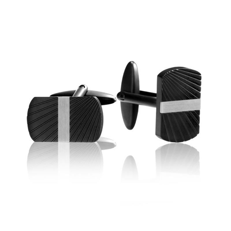 A.R.Z Steel - Black And Steel cuffLinks