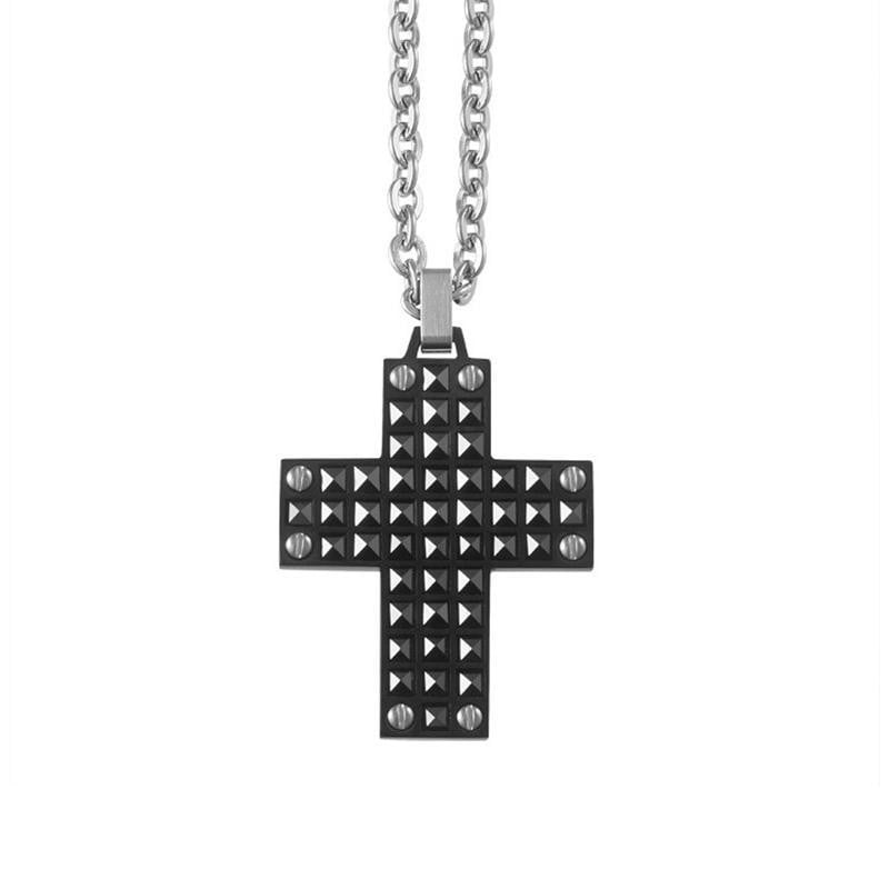 A.R.Z Steel - Black Studded Cross Pendant