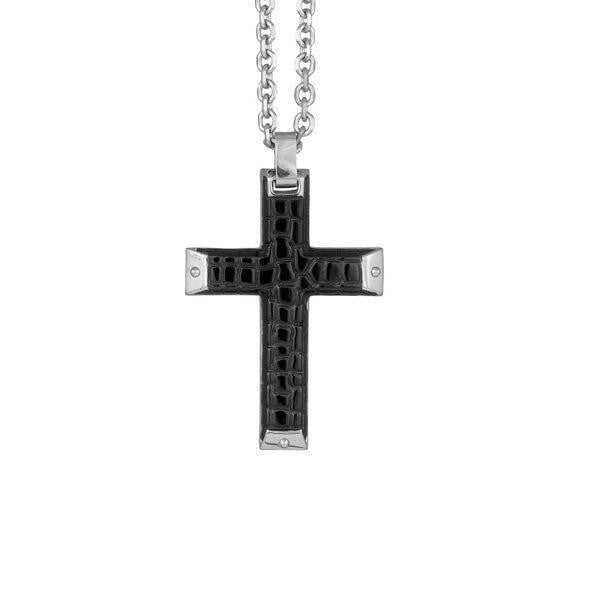 A.R.Z Steel - Black Studded Cross Stainless Steel Pendant