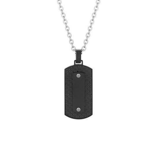A.R.Z Steel - Solid Black Dog Tag Pendant And Chain