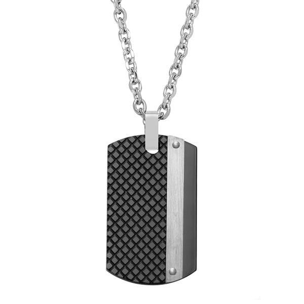 A.R.Z Steel -  Black Stainless Steel Dog Tag Pendant