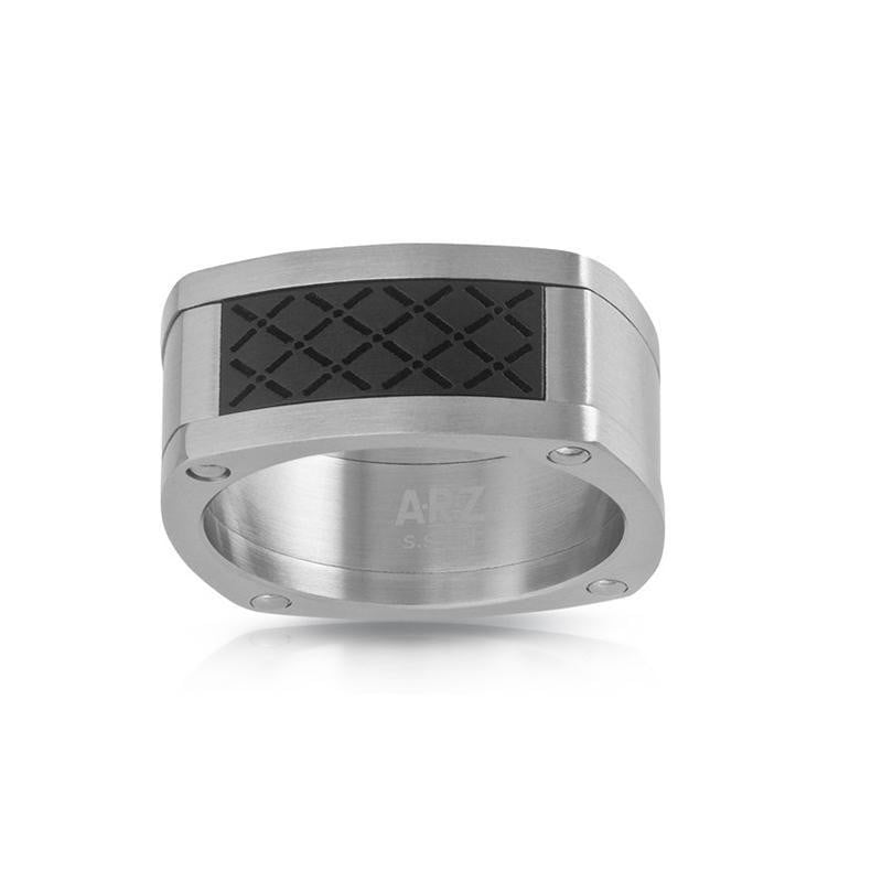 A.R.Z Steel - Gents Signet Checker Board Ring