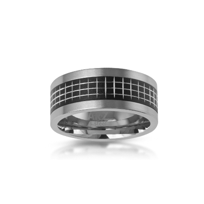 A.R.Z Steel - Matte Inlay Black Steel Wedding Ring