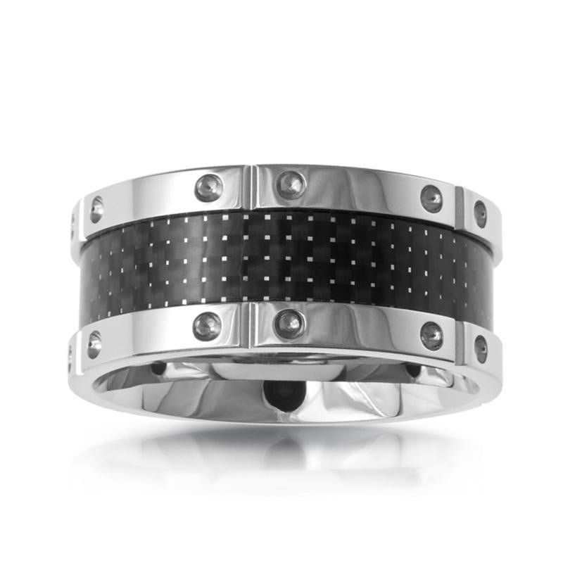 A.R.Z Steel - Stainless Steel Carbon Fibber Inlay Wedding Ring