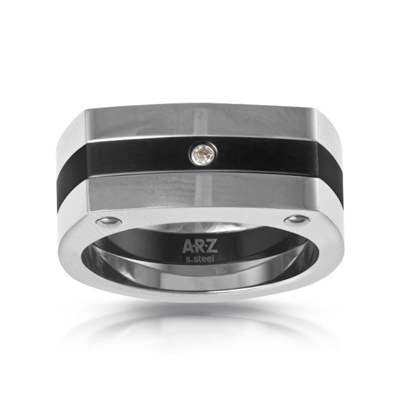 A.R.Z Steel -  Gents CZ Signet Steel Ring