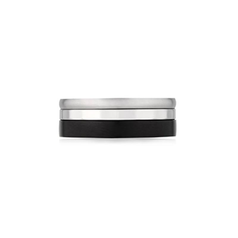 A.R.Z Steel - Black Fancy Half Rounded Wedding Ring