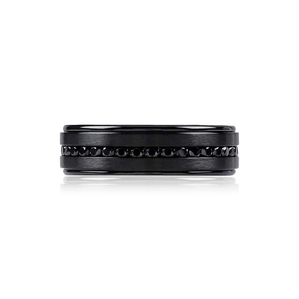 A.R.Z Steel - Black Matte Black Cz Wedding Ring