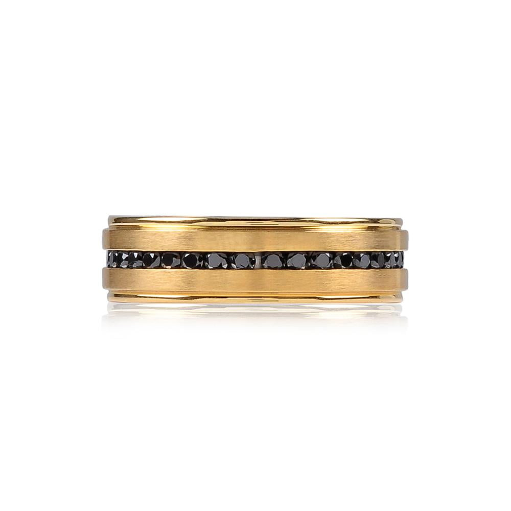 A.R.Z Steel - Gold Matte Black Cz Wedding Ring