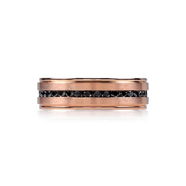 A.R.Z Steel - Rose Gold Matte Black Cz Wedding Ring