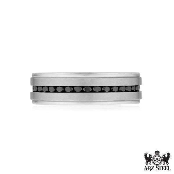 A.R.Z Steel - White Gold Matte Black Cz Wedding Ring