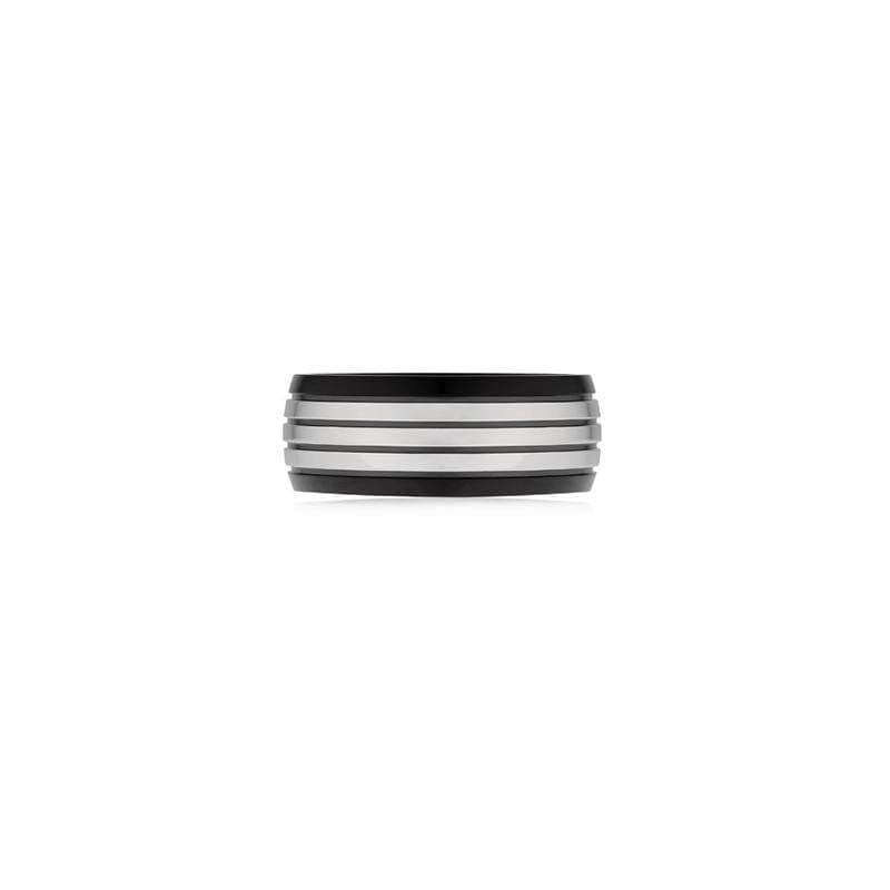 A.R.Z Steel - Black And White Grooved Wedding Ring