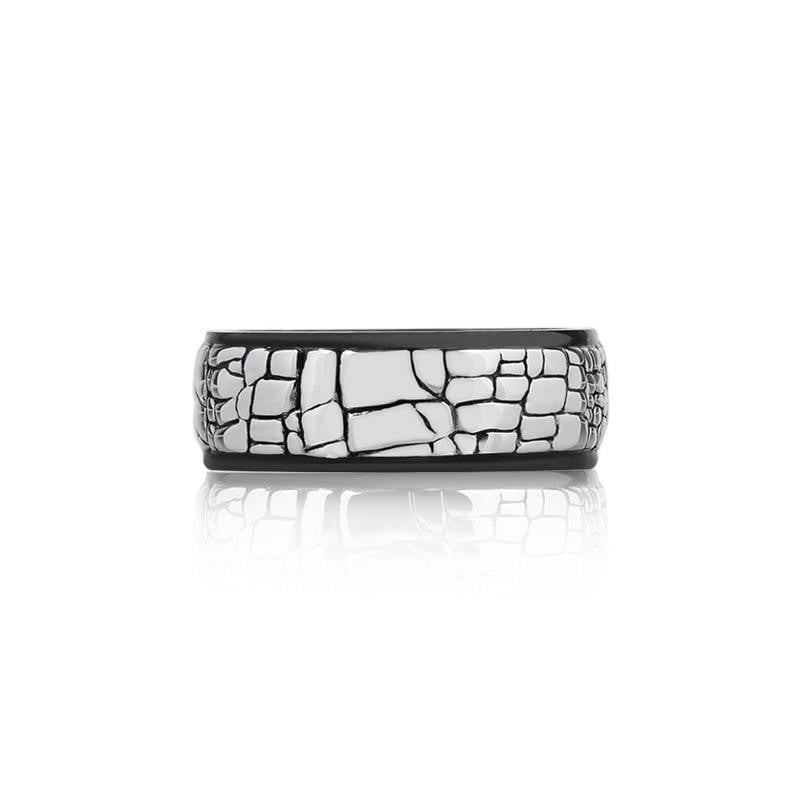 A.R.Z Steel - Shiny Western Wall Finish Wedding Ring