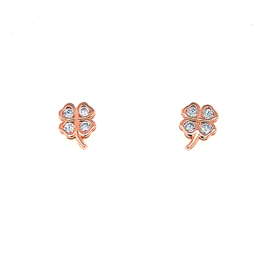 Rose Gold Four Leaf Clover Earrings