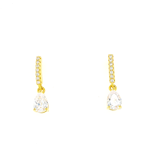 Gold Tear Drop Cubic Zirconia Earrings