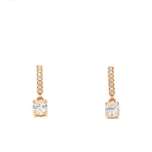 Round Drop Cubic Zirconia Earrings- Rose