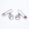 Safety Pin Earrings - Silver 925 with Pawprint Charms