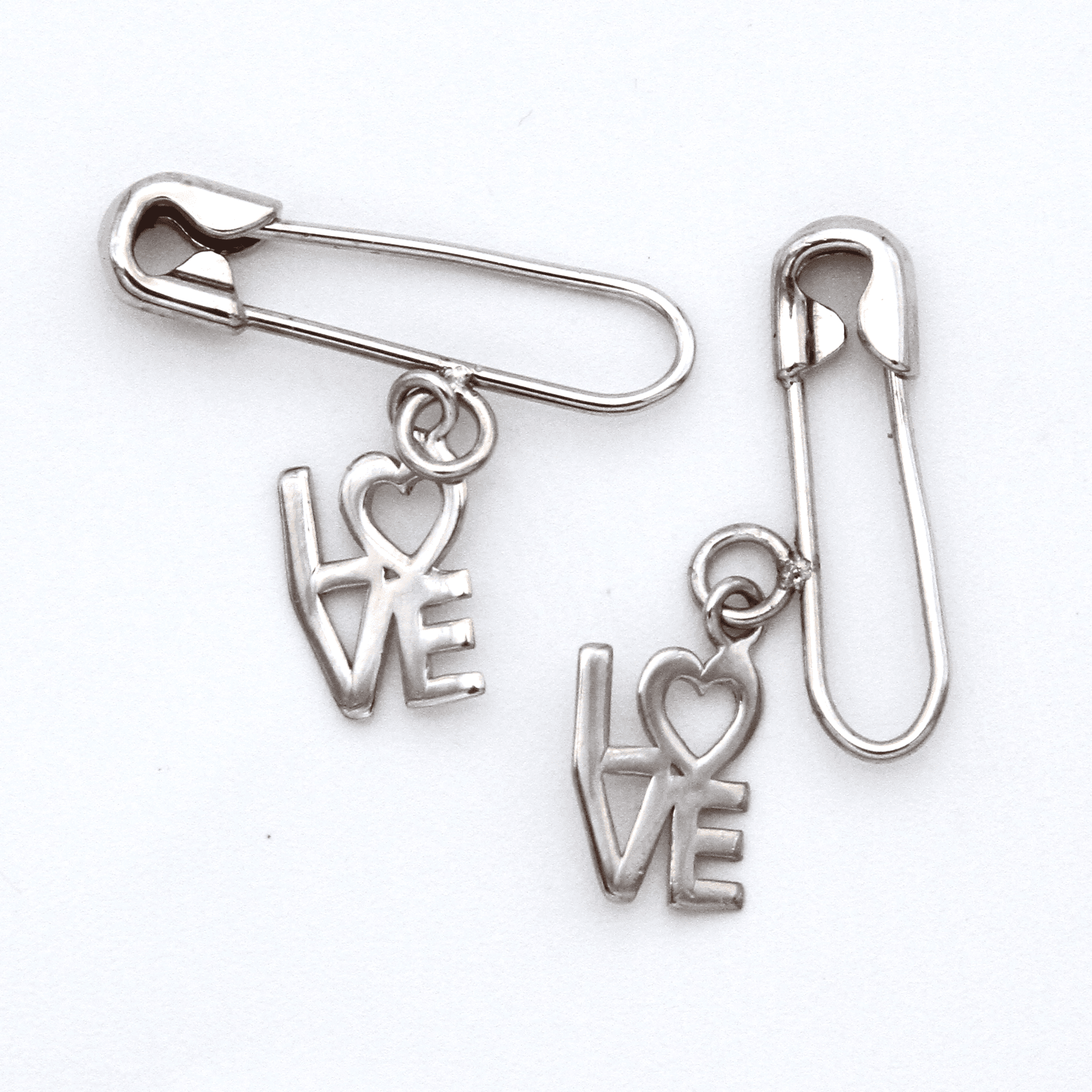 Safety Pin Earrings - Silver 925 with LOVE Charm