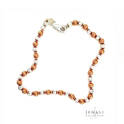 Sterling Silver and Rose Gold Bead Bracelet