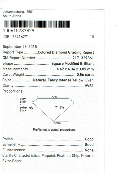 Square Intense Yellow Diamond