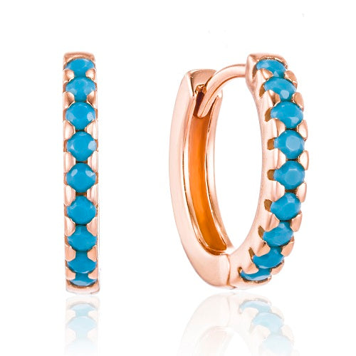 Rose Gold elegant turquoise huggie earrings