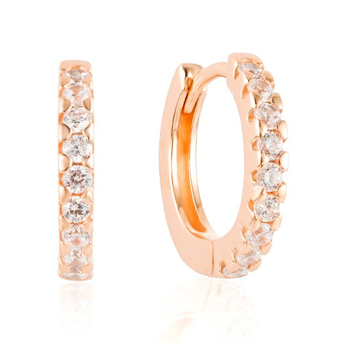 Rose Gold elegant huggies earrings