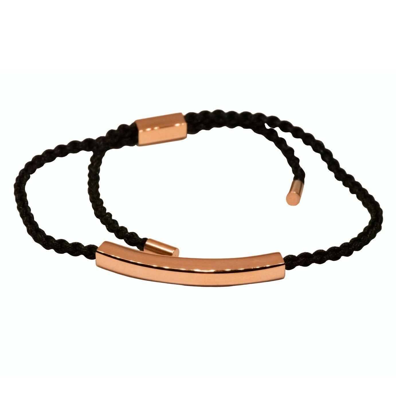 Black cord bracelet with rose gold 9ct vermeil bar