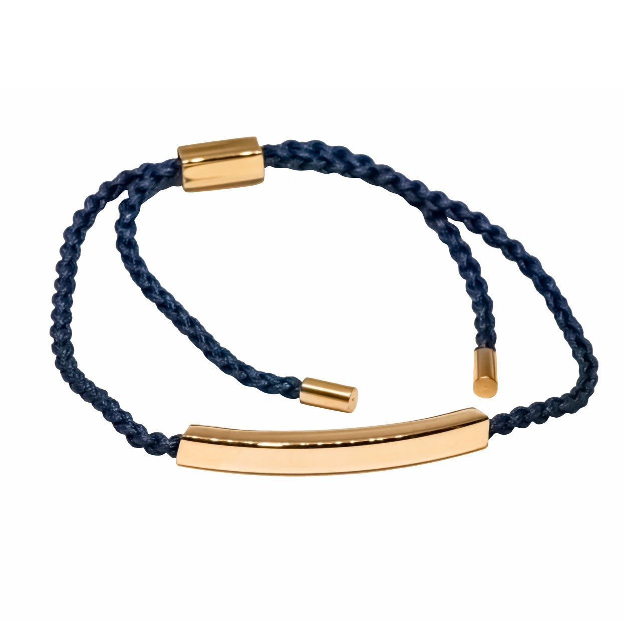 Navy cord bracelet with rose gold 9ct vermeil bar