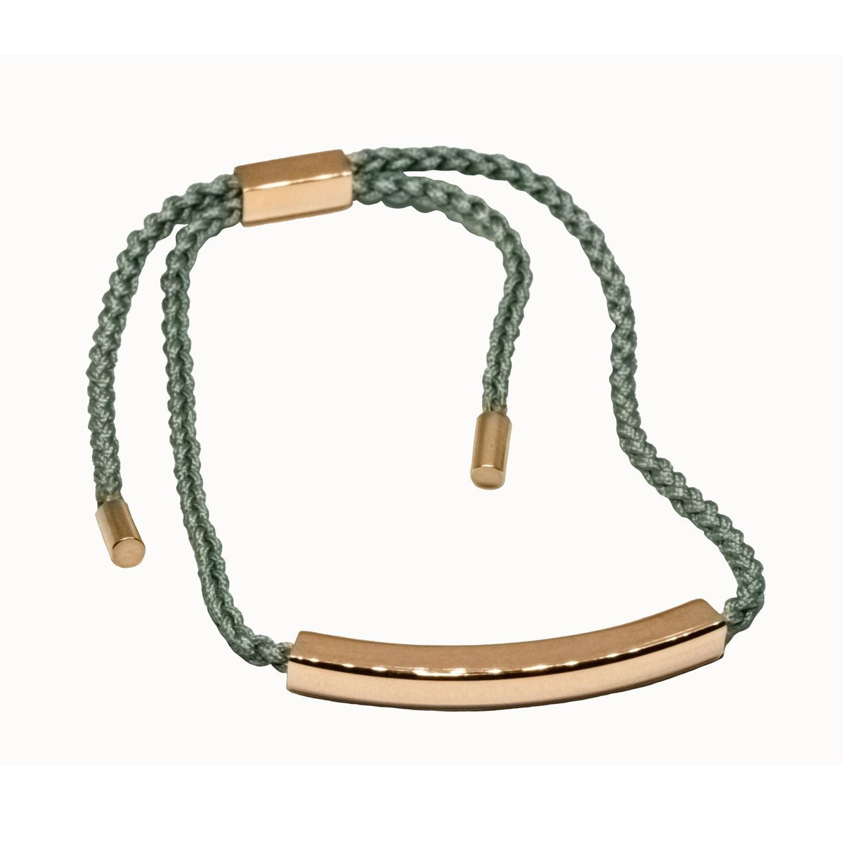 Green cord bracelet with rose gold 9ct vermeil bar