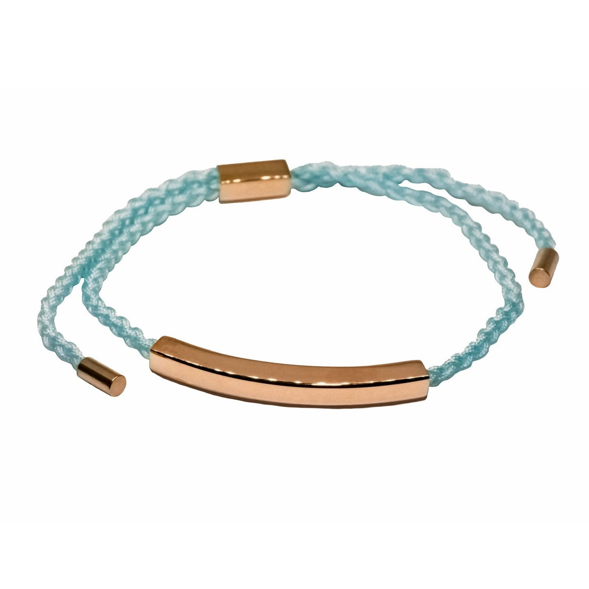 Blue cord bracelet with rose gold filled bar