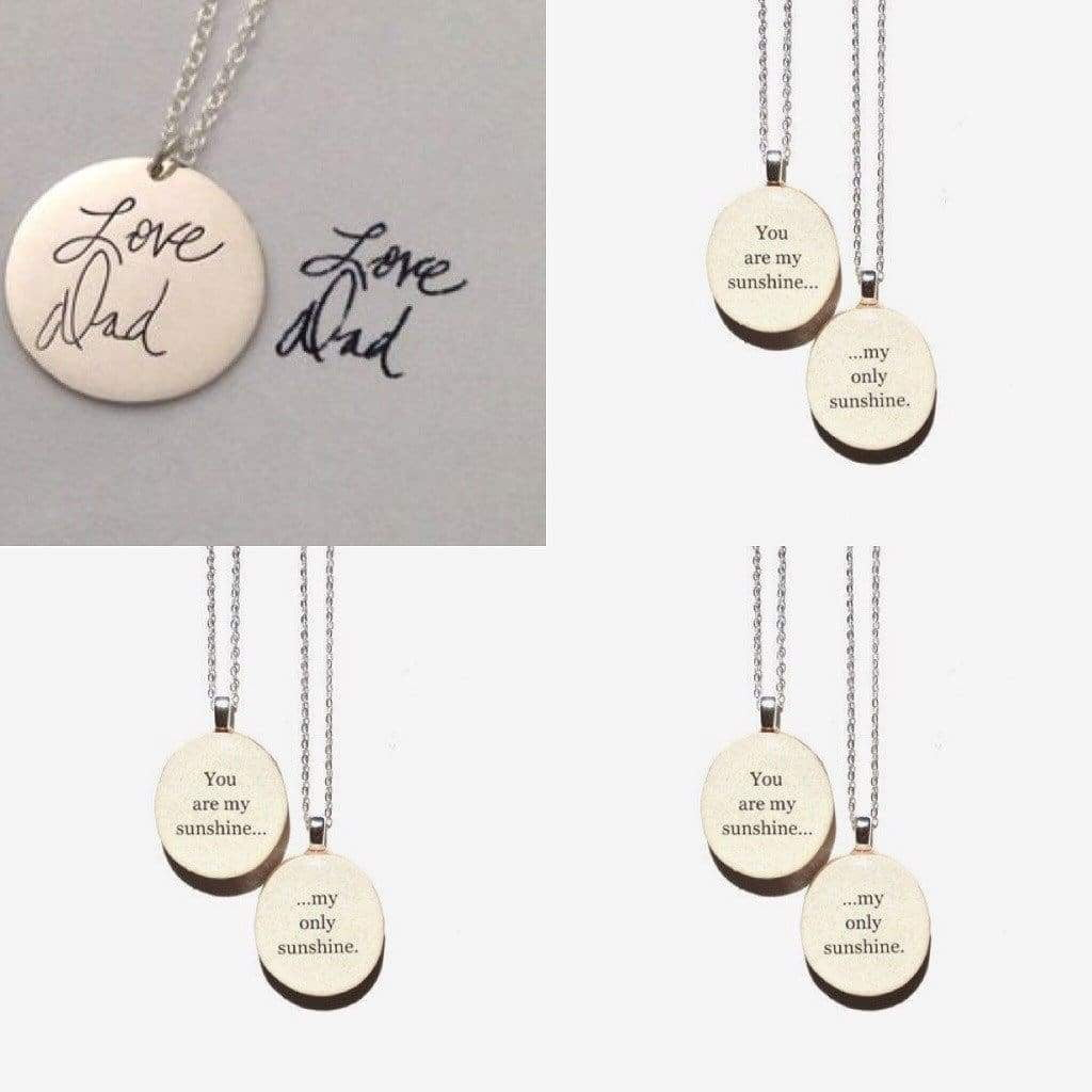 Engraved Handwriting Copy - Love Dad Necklace