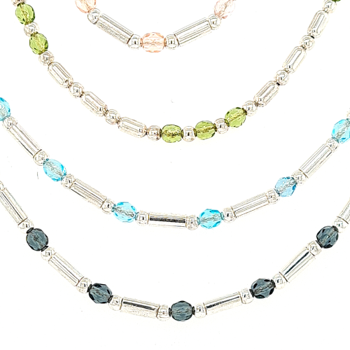 Silver Tube & Ball Gem Necklaces