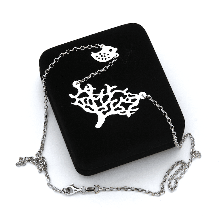 Laser Cut Tree And Dove Chain Necklace