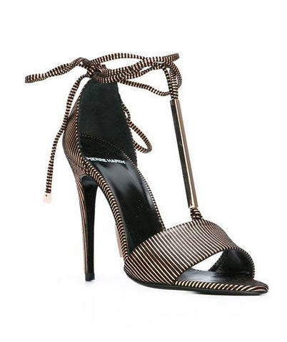 PIERRE HARDY PIERRE HARDY Blondie Stripe Leather & Metal Ankle-tie Sandals In Metallic EU 38 UK 5