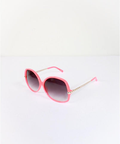 MATTHEW WILLIAMSON X LINDA FARROW OVERSIZED CORAL Pink SUNGLASSES WITH GOLD STUD DETAIL