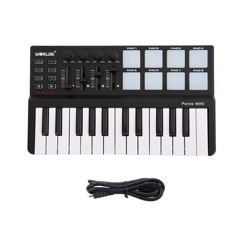 Portable 25 Keys USB Keyboard MIDI Controller with Drum Pad