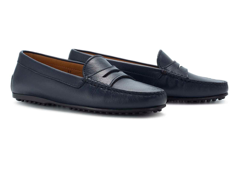 Dark Blue Calfskin Flat Sole