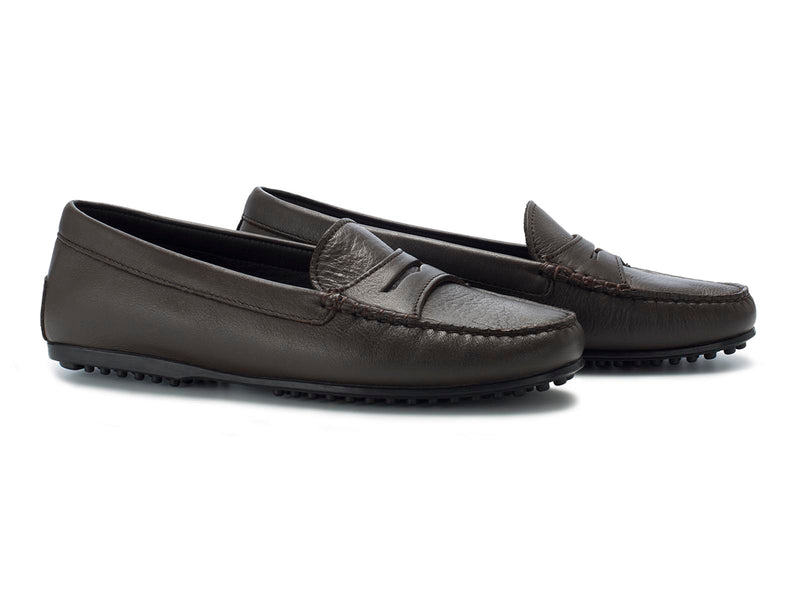 Dark Brown Calfskin Flat Sole
