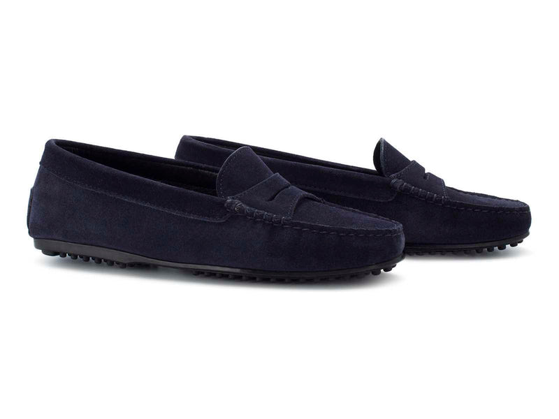 Dark Blue Suede Flat Sole