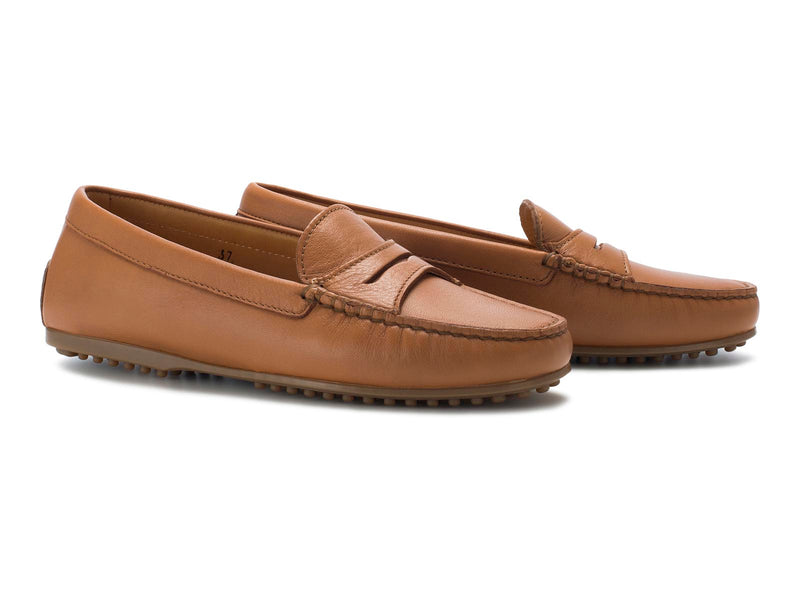 Cognac Calfskin Brown Flat Sole