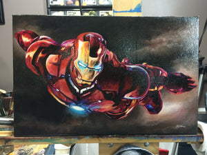 "Original 1/1 Oil on Canvas Painting ""Ironman"""