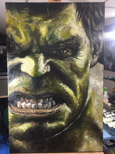 "Original 1/1 Oil on Canvas Painting ""Hulk Smash"""
