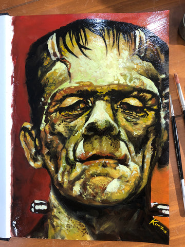 "Original 1/1 Oil on Paper Painting ""Frankenstein"""