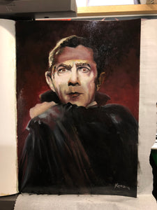 "Original 1/1 Oil on Paper Painting ""Count Dracula"""