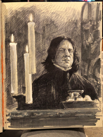"Original 1/1 ""Professor Snape"" 9x12 on Toned Paper"